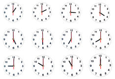 Zwölf-Stunden-Uhr lokalisiert Stockfotografie
