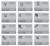 Zwölf Symbole des Tierkreises für verschiedene Auslegunggestaltungsarbeiten Stockfotografie