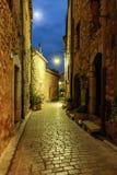 Zwęża się brukującą ulicę z kwiatami w starej wiosce przy nocą, zdjęcia stock