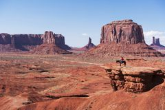Navajo Man on Horse, Monument Valley, Utah. Stock Photos