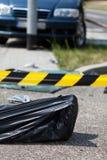 Zwłoki w torbie po wypadku samochodowego Obraz Royalty Free