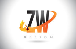 ZW Z W Letter Logo with Fire Flames Design and Orange Swoosh. Stock Photography