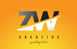 ZW Z W Letter Modern Logo Design with Yellow Background and Swoo Royalty Free Stock Image