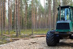 Zwaar materiaal in registreren en bosbouw: Forwarder royalty-vrije stock foto's