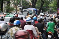 Zwaar verkeer in Vietnam Royalty-vrije Stock Foto's