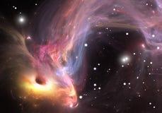 Zwaar zwart gaten absorberend gas en stof van rond Stock Foto
