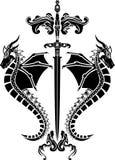Zwaard en drakenstencil Stock Afbeelding