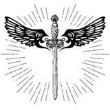 Zwaard en vleugels Royalty-vrije Stock Afbeeldingen