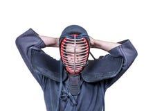 Zwaardvechter die beschermingsmiddel voor hoofd`-mensen ` voor Japan dragen royalty-vrije stock foto