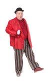 Zwaarlijvige mens in een rode kostuum en bowlingspelerhoed Stock Foto's