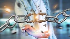 Zwakke verbinding van een Gebroken ketting die 3d exploderen - geef terug Royalty-vrije Stock Afbeeldingen