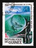 Zwalcza z rekinem, 150th rocznica narodziny Jules Verne seria około 1979, zdjęcia stock