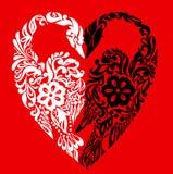Zwanen in de vorm van hart, abstracte achtergrond Stock Afbeeldingen
