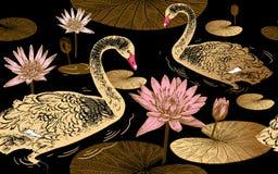 Zwanen en waterlelie Naadloos patroon royalty-vrije illustratie