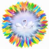 Zwanen in liefde door kroon wordt ontworpen die Royalty-vrije Stock Fotografie