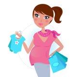 Zwanger mamma bij het winkelen voor babyjongen Stock Foto