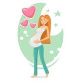 Zwanger meisje die haar baby in buik houden Royalty-vrije Stock Fotografie