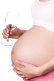 Zwanger meisje met alcohol Stock Foto's