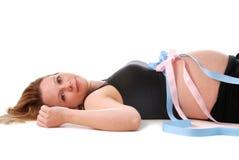 Zwanger met tweelingen. Stock Afbeelding