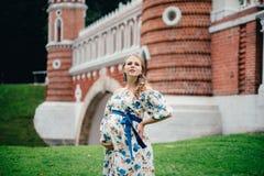 Zwanger mooi meisje in kleurrijke kleding in aard Stock Fotografie