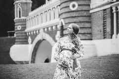 Zwanger mooi meisje in kleurrijke kleding in aard Stock Foto's