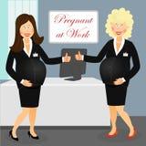 Zwanger op het werk Stock Afbeeldingen