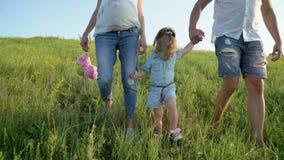 Zwanger paar met peuterdochter het lopen in de handen van de aardholding stock video