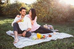Zwanger paar op picknick Stock Afbeeldingen