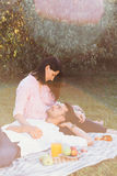 Zwanger paar op picknick Stock Fotografie