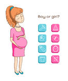 Zwanger vrouw en babypictogram Royalty-vrije Stock Foto's