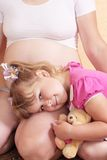 Zwanger vrouwen en kind Royalty-vrije Stock Foto's