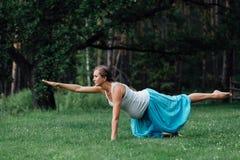Zwanger yoga prenataal moederschap die verschillende oefeningen doen in het park op het gras, ademhaling, het uitrekken zich, sta royalty-vrije stock afbeeldingen