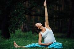 Zwanger yoga prenataal moederschap die verschillende oefeningen doen in park op het gras, ademhaling, het uitrekken zich, statica stock fotografie