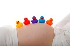 Zwangere buik met kleurrijke rubbereenden Royalty-vrije Stock Foto