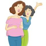 Zwangere Dochter met Moeder Stock Foto's