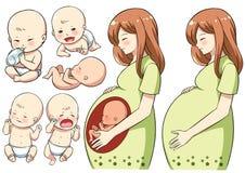 Zwangere gelukkige moeder en haar baby Stock Foto