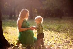Zwangere moeder en haar weinig zoon in het park bij zonsondergang Stock Afbeeldingen