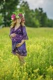 Zwangere mooie vrouw in de zomerdag Royalty-vrije Stock Fotografie