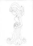 Zwangere nimf - contour Stock Afbeelding