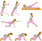 Zwangere oefeningenreeksen Stock Afbeeldingen