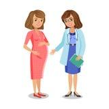 Zwangere vrouw bezoekende arts in kliniek, aanstaande moeder Royalty-vrije Stock Afbeeldingen