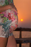 Zwangere vrouw bij zonsondergang Royalty-vrije Stock Fotografie
