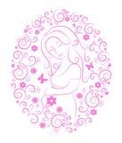 Zwangere vrouw binnen rond kader Stock Afbeelding