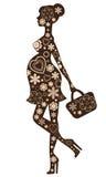 Zwangere vrouw in bloemen Royalty-vrije Stock Afbeelding
