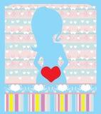 Zwangere vrouw, de kaart van de babydouche Stock Afbeelding