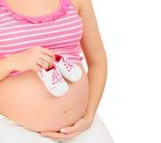 Zwangere vrouw die een babymeisje verwachten Royalty-vrije Stock Afbeelding