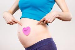 Zwangere vrouw die inschrijving 500+, sociaal programma en beleid in Polen tonen royalty-vrije stock afbeelding