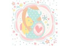 Zwangere vrouw die kindgeboorte verwachten Buik met binnen baby Zwangerschapsthema Hand getrokken vectorontwerp voor groet stock illustratie