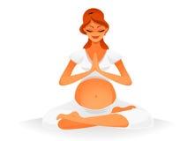 Zwangere vrouw die yoga doet Royalty-vrije Stock Afbeeldingen