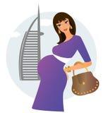Zwangere vrouw in Doubai Stock Afbeelding